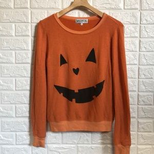 Wildfox jack O' lantern distressed sweatshirt